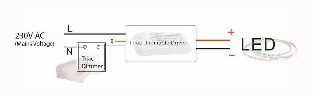 Схема подключения диммируемого драйвера.