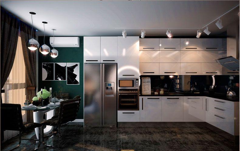 Использование трековых светильников на кухне