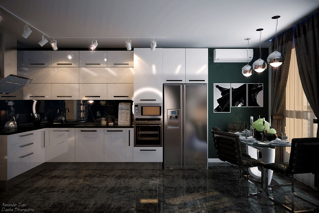 Трековые светильники на кухне