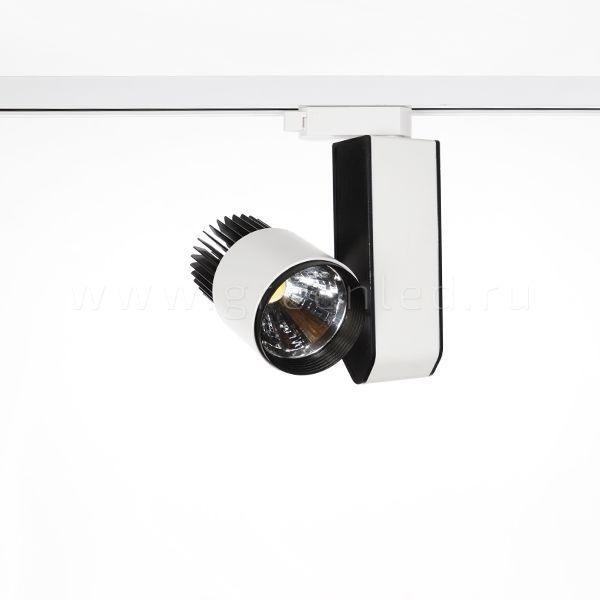 Трековый LED светильник TRV-5019, черный с белым, вид спереди