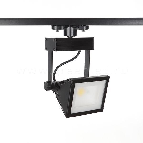 Трековый LED светильник TRV-530, черный вид спереди