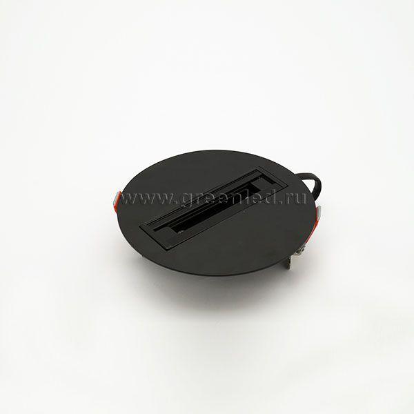 Одиночное крепление трекового светильника, черное, врезное