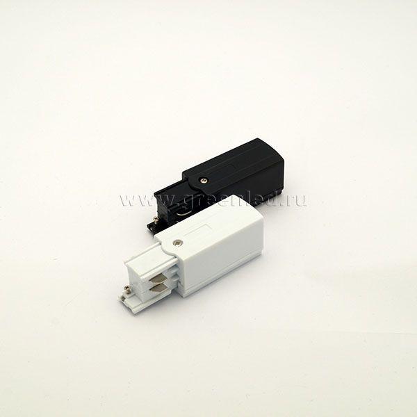 Торцевой токоподвод трехфазного шинопровода, черный, белый